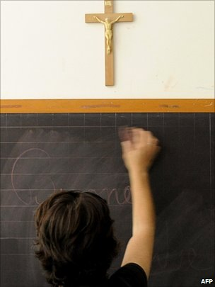crucifix in a clasroom